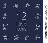 set of 12 athletic outline... | Shutterstock .eps vector #690822097