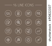 set of 16 search outline icons... | Shutterstock .eps vector #690822337