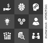 set of 9 strategy icons set... | Shutterstock .eps vector #690829261