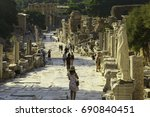 tourist walking ephesus ancient ... | Shutterstock . vector #690840451