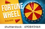 Stock vector wheel of fortune d object isolated on blue background place for text 690845464