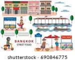 street food in bangkok  ... | Shutterstock .eps vector #690846775