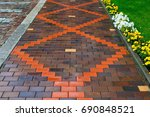 beautiful pavement of red and... | Shutterstock . vector #690848521