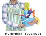 woman with cleaning equipment... | Shutterstock . vector #690850891