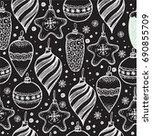 christmas seamless pattern with ... | Shutterstock .eps vector #690855709