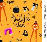 vector tan spray machine and... | Shutterstock .eps vector #690856201