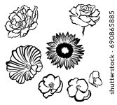 flowers set. flowers vector.... | Shutterstock .eps vector #690865885