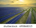 high angle solar photovoltaic... | Shutterstock . vector #690868315