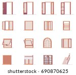 vector low poly windows and... | Shutterstock .eps vector #690870625