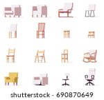 vector low poly chairs and... | Shutterstock .eps vector #690870649