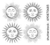 boho flash tattoo design hand... | Shutterstock .eps vector #690870685