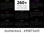large thin line icons set....