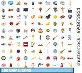 100 game icons set in cartoon... | Shutterstock . vector #690872821