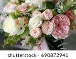 spring bouquet of mixed flowers ... | Shutterstock . vector #690872941
