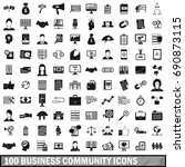 100 business community icons... | Shutterstock . vector #690873115