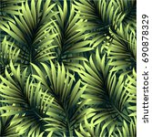 tropical palm leaves  jungle... | Shutterstock .eps vector #690878329