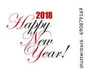 2018 happy new year hand... | Shutterstock .eps vector #690879169