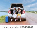 asian boy and girl looking... | Shutterstock . vector #690880741
