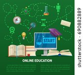 online education concept with... | Shutterstock .eps vector #690882889
