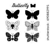 set butterfly black silhouette. ... | Shutterstock . vector #690882991