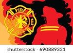 fire department with fireman is ...   Shutterstock .eps vector #690889321