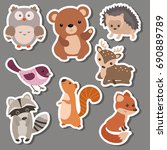 forest animal stickers. animals ... | Shutterstock .eps vector #690889789