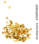 falling gold coins on white... | Shutterstock . vector #690890809