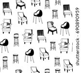 black and white various chairs. ... | Shutterstock .eps vector #690890959