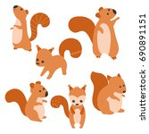 set of cute squirrels on white... | Shutterstock .eps vector #690891151