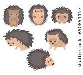 set of cute hedgehogs on white... | Shutterstock .eps vector #690891157
