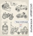 transport. vintage set.   | Shutterstock .eps vector #690891265