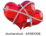 Two Glas Hearts Linked Togethe...