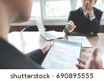 Small photo of Business situation, job interview concept.