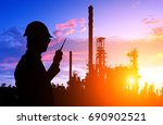 silhouette of engineer and... | Shutterstock . vector #690902521