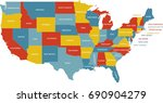united states map with state... | Shutterstock .eps vector #690904279
