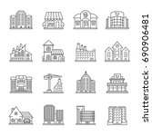 city buildings linear icons set.... | Shutterstock .eps vector #690906481