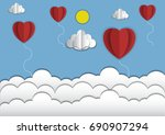 hot air balloon colorful and... | Shutterstock .eps vector #690907294