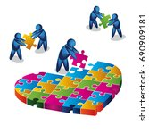 love puzzle.  illustration in... | Shutterstock .eps vector #690909181
