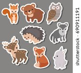 forest animal stickers. animals ... | Shutterstock .eps vector #690911191