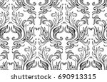 ornamental hand drawn pattern... | Shutterstock .eps vector #690913315