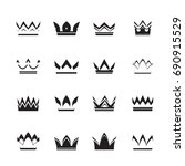 set of black vector crowns and... | Shutterstock .eps vector #690915529