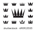 set of black vector crowns and... | Shutterstock .eps vector #690915535