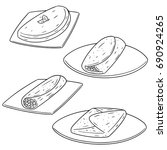 vector set of omelette | Shutterstock .eps vector #690924265