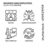 business  square mini icon set. ... | Shutterstock .eps vector #690929959