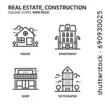 real estate  square mini icon... | Shutterstock .eps vector #690930025