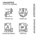 law and justice  square mini... | Shutterstock .eps vector #690930034