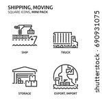 moving  shipping  square mini... | Shutterstock .eps vector #690931075