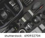 top view of work space... | Shutterstock . vector #690932704