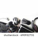 gamer workspace concept  top... | Shutterstock . vector #690932731