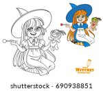 cute girl in witch costume... | Shutterstock .eps vector #690938851
